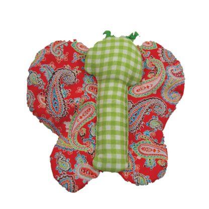 Handgemaakt rood/groene labeldoekje in de vorm van een vlinder