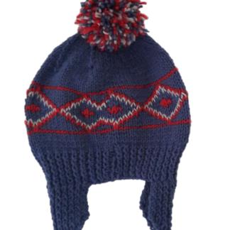 Blauwe, handgemaakte muts met Noors patroon