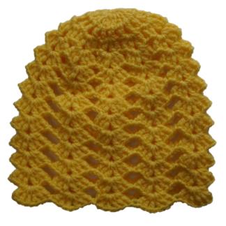 Muts geel grof gebreid