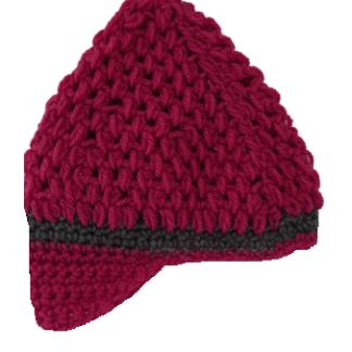 Roze muts in de vorm van een cap met grijze streep
