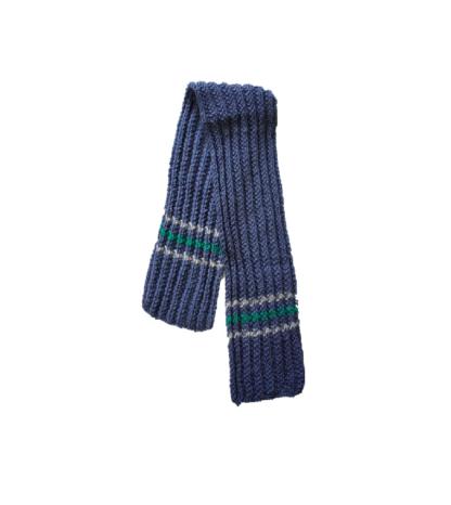 blauwe sjaal met groene en witte sjaal