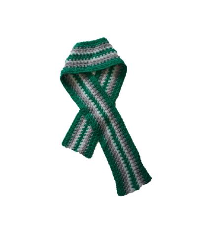 sjaal groen met grijze en witte strepen