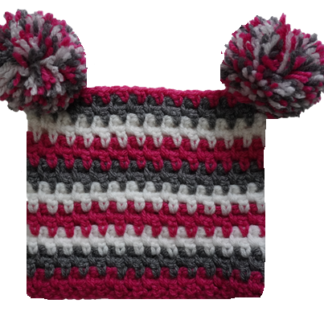 vierkante kindermuts met roze, grijze en witte strepen