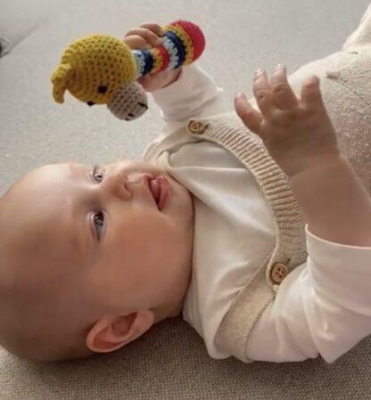 Baby is aan het spelen met de rammelaar giraffe van global affairs