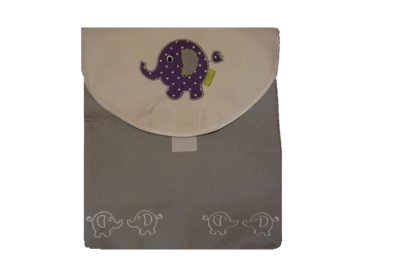 Boxzak grijs met wit en paarse olifant