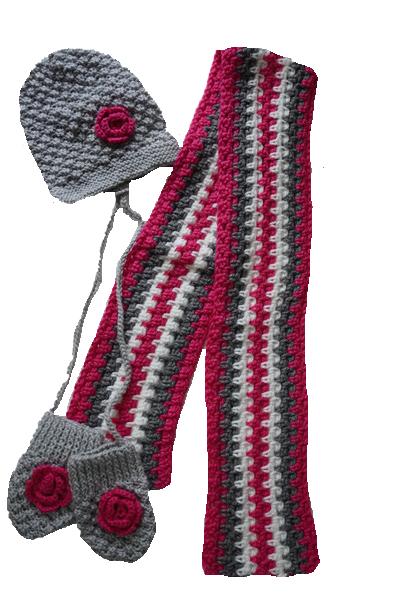 Handshcoenen muts sjaal roze met grijs
