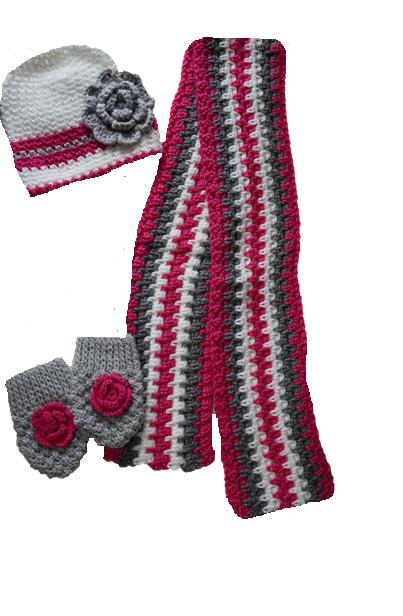 handgemaakte sjaal muts en handschoenen roze wit grijs